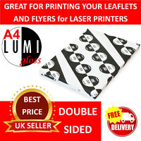 50 sheets of 200 gsm A4 GLOSSY WHITE 2 SIDED PAPER for LASER & DIGITAL PRINTERS
