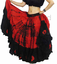 Red/Black 25 Yd Cotton Tribal Skirt 2 COLOUR ATS BELLY DANCE dancing