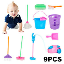 9pcs Kids Pretend Play Toy Broom Mop Bucket Tools Cleaner Cleaning Set New
