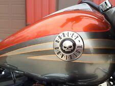 New OEM Harley Willie G. Skull CVO Round Fuel Gas Tank Emblems Badges Set