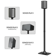 Freestanding Speaker Stand with Cable Channel for SONOS PLAY:1 and PLAY:3 Black