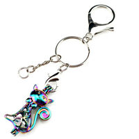 Key Chains Keychain Silver Plated Key Ring Clasp with Cat Beads Cage Y362