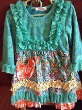 Tutu & Luli Long Sleeve Lacy Dress & Ruffle Bottom Pants PreOwned 3T-4T Clean!