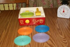 1971 Vintage Fisher Price Music Box Toy Record Player With 5 Discs- Works Great!