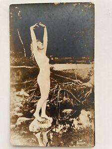 Beautiful Woman Nude In Nature Original Antique Photo Postcard Risqué