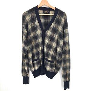 vintage RRL Double RL Ralph Lauren Grandpa Cardigan Sweater linen Plaid L Men's