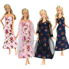 4 Items =2 Fashion Handmade Dresses Clothes + 2 Lace Coat for Barbie Doll Gifts