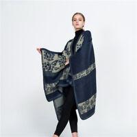 Elegant Womens Scarves Poncho Wool Blend Warm Cape Wrap Shawl Cardigan Coat UK