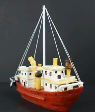 TUG BOAT Vintage Collectible Red White Wooden Resin Painted Nautical Fishing