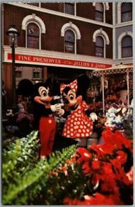 Vintage DISNEYLAND Postcard Mickey & Minnie Mouse Main Street Flower Mart c1970s