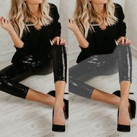 Women Glitter Sequin Pencil Pants Stretch Night Clubwear Fashion Slim Trousers