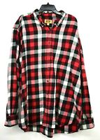 The Foundry Mens Red Checkered Button Down Cotton Flannel Long Sleeve Shirt 3XLT