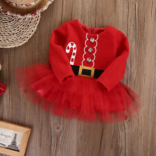 UK Toddler Baby Girls Christmas Claus Santa Dress Outfit Costume Xmas Clothes
