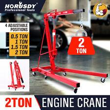 2T Hydraulic Engine Crane Folding Hoist Stand Mobile Garage Lifter Workshop Tool