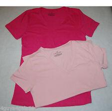 Womens Tee Shirt TWO LOT Light Pink DARK PINK S 4-6 V NECK Short Sleeve