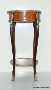 Antique French Bouillotte Lamp Table w/ Drawer and parquetry inlay Brass accents