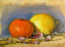 Oil Painting, Lemon, Orange & Pink Lavender. Impressionist still life picture.
