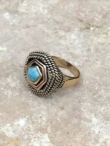 Barse Multiplicity Ring-Mixed Metals & Turquoise- 8-New With Tags
