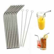 8Pcs Metal Drinking Straws Stainless Steel Drinks Straw Cleaner Party Reusable W