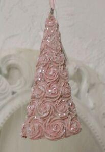 Christmas Tree Pendant Pink 5 7/8in Ornament Christmas Shabby Decor