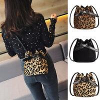 Womens Girl Plush Leopard Print Shoulder Bag Messenger Crossbody Bag Bucket Bag