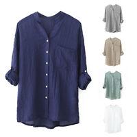 Camisa de manga larga de lino de algodon de moda para mujer Chaqueta blusa G4D1