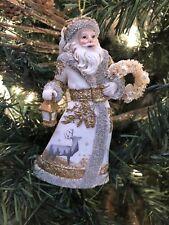 """New Kurt Adler 5.25"""" Winter Woods White-Gold Santa W/Wreath Christmas Ornament!"""