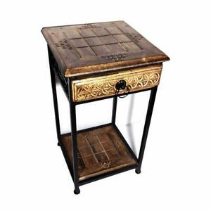 WOODEN & IRON HANDCRAFTED BEDSIDE TABLE / STOOL WITH SHELF STORAGE & DRAWER