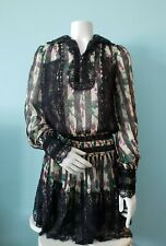 Anna Sui floral black lace Summer long sleeve mini dress size XS 0 gothic Lolita