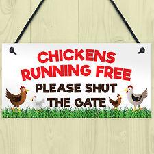 Chickens Running Free Shut The Gate Hanging Plaque Hens Coop Garden Sign Range