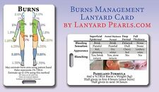 Burns Management with Lund + Browder Chart - PVC Medical Lanyard Reference Card