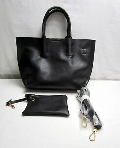 Street Level Faux Pebbled Leather Tote With Wristlet Crossbody Strap Purse