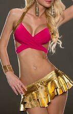 SeXy Miss Gogo Damen Girly metallic Lack Mini Volant Rock Strass Wickel Top XS-S