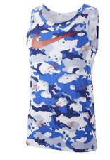 Men's Nike Dri Fit Camo Sleeveless Swoosh Tank Top L Blue New Defect Slim Fit