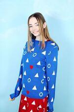 THE WHITEPEPPER Heart Knit Jumper Blue Hipster Pattern- M #2V26