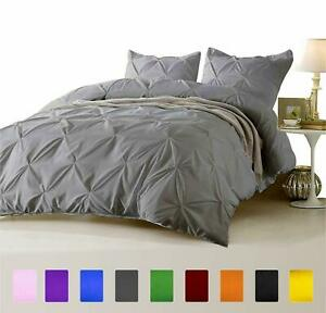 Silver Grey 1000 TC Egyptian Cotton 3 PC or 5 PC Pinch Pleated Comforter Set