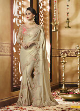 Indian Designer Beige Embroidered Bollywood Sari Crepe Silk Party Wear Saree