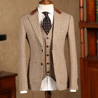 Men's Khaki Houndstooth Suits Formal Wool Tweed Vintage Tuxedo Two Button Suits