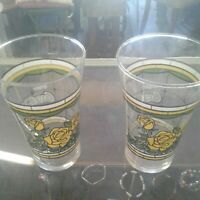 Vintage Coca Cola Yellow Rose 12 Ounce Glasses Set Of 2