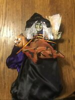 """Fiber Optic Halloween Witch With A/C Adapter 13"""" table or tree topper"""