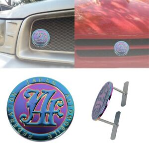 Japan Automobile Federation Purple-Neo JAF METAL Emblem Badge Cars Front Grille