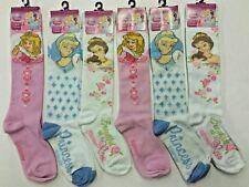Disney Princess CINDERELLA, AURORA & BELL Knee High Socks (6 Pairs) Girls 6-8