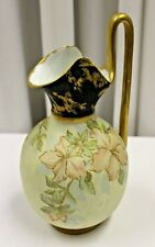 Antique German Moriage Raised Gold Relief  Ewer Pitcher Dated 1898