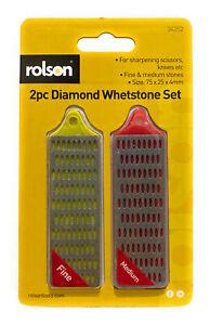 Rolson Mini Diamond Sharpening whetstone set For Scissors Knives - Fine & Medium