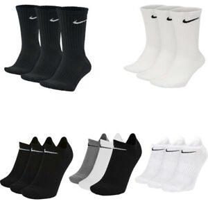 Nike Mens Womens 3 Pairs Socks Crew Everyday No Show Ankle Cotton Sock Size S