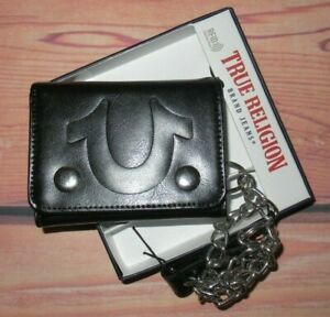 MENS TRUE RELIGION HORSESHOE BLACK LEATHER SNAP CLOSURE TRIFOLD CHAIN WALLET