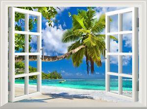 Beach Wall Decal 3D Window Sticker Ocean Palm Poster Vinyl Mural Art Wallpaper