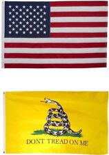 New listing 12x18 Usa American Flag & Gadsden Dont Tread On Me 2 Sided Embroiderd Gift Set
