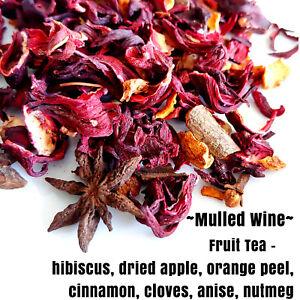 Hibiscus, dried apple, orange peel, cinnamon-  Fruit Loose Leaf Premium Tea