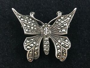 Vintage quality 925 sterling silver and marcasite butterfly brooch